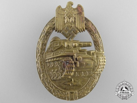 Panzer Assault Badge, in Bronze, by B. H. Mayer Obverse