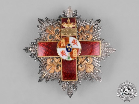 2nd Class Breast Star (white distinction) (with Fleur de Lys and Royal Crown) (Silver and Silver gilt) Obverse