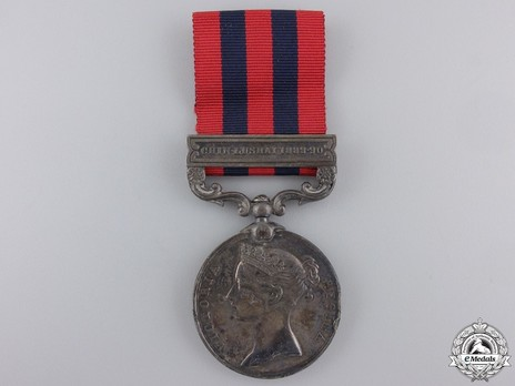 """Silver Medal (with """"CHIN-LUSHAI 1889-90"""" clasp) Obverse"""