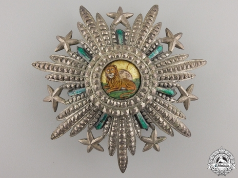 Order of the Lion and Sun, Type III, II Class Breast Star (with couchant lion, with stars) Obverse