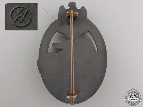 Panzer Assault Badge, in Bronze, by K. Wurster (in zinc) Reverse