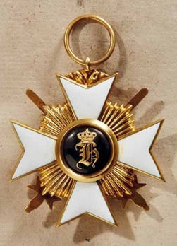 Princely Honour Cross, Military Division, II Class Cross (with swords & rays, in gold)