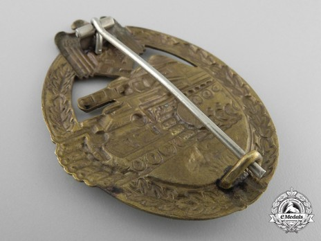 Panzer Assault Badge, in Bronze, by B. H. Mayer Reverse