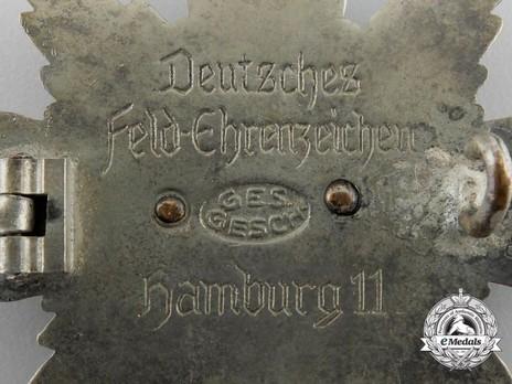 German Field Honour Badge (in silvered tombac) Reverse Detail