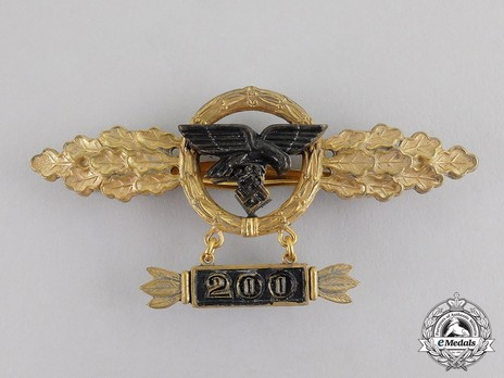 "Transport & Glider Clasp, in Gold (with ""200"" pendant) Obverse"