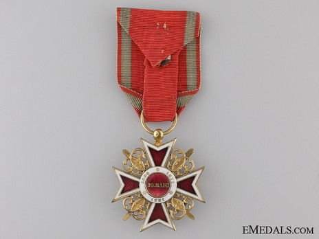 Order of the Romanian Crown, Type I, Military Division, Officer's Cross Reverse