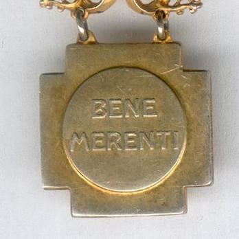 Miniature Bene Merenti (Type V) Gold Medal Reverse