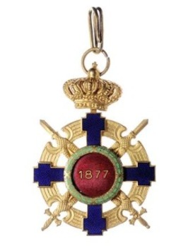 The Order of the Star of Romania, Type II, Military Division, Commander's Cross (peacetime) Reverse