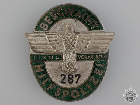 Mountain Guard Auxiliary Police Badge Obverse