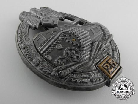 """Panzer Assault Badge, """"25"""", in Bronze (by G. Brehmer) Obverse"""