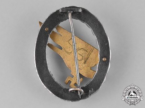 Luftwaffe Paratrooper Badge, by C. E. Juncker (in brass & nickel silver) Reverse