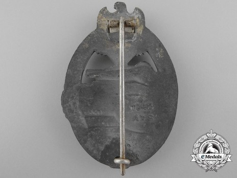 Panzer Assault Badge, in Silver, by A. Wallpach Reverse