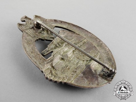 Panzer Assault Badge, in Silver, by A. Scholze Reverse