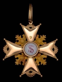 Order of Saint Stanislaus, Type I, Civil Division, II Class Cross (in gold) Reverse