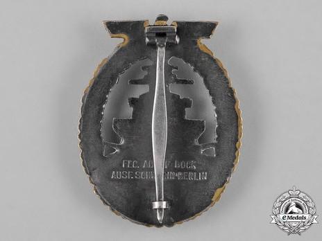 High Seas Fleet Badge, by C. Schwerin (in tombac) Reverse