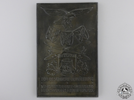 Honour Plaque for Proof of Merit in Field Air District XXX Obverse