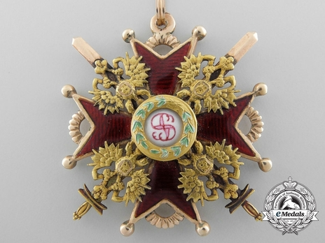 Order of Saint Stanislaus, Type II, Military Division, III Class Cross (in Gold)
