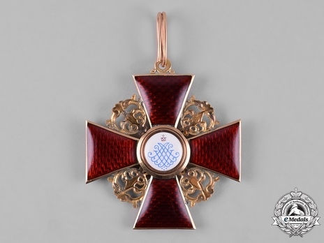 Order of St. Anne, Type II, Civil Division, I Class Badge (in gold) Reverse