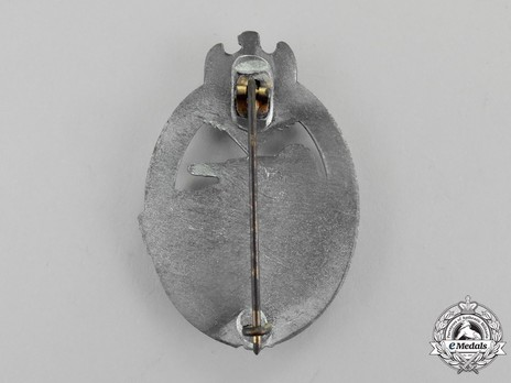 Panzer Assault Badge, in Silver, by Steinhauer & Lück Reverse