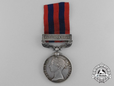 """Silver Medal (with """"WAZIRISTAN 1894-5"""" clasp) Obverse"""