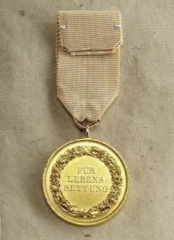 "Life Saving Medal, Type II, in Gold (stamped ""KRUGER F."")"