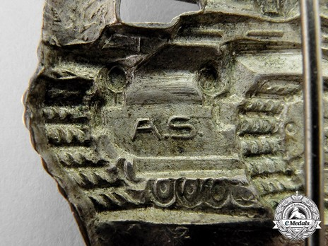 Panzer Assault Badge, in Silver, by A. Scholze Detail