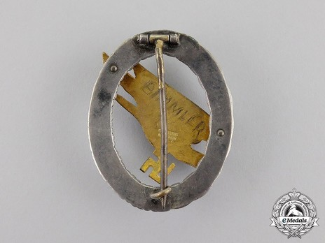 Luftwaffe Paratrooper Badge, by C. E. Juncker (in brass) Reverse