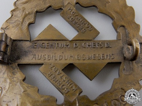SA Sports Badge, Type I, in Bronze Reverse Detail