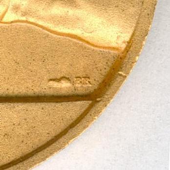 """Gilt Medal (stamped """"CH. FAVRE-BERTIN,"""" 1939-1953) (Bronze gilt by Monnaie de Paris) Reverse Detail"""