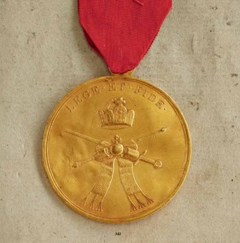 "Honour and Merit Medal ""LEGE ET FIDE"", Type I, III Class Gold Medal"