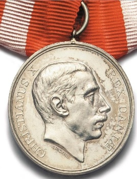 King Christian X's Military Commemoration Medal 1914 in Silver Obverse