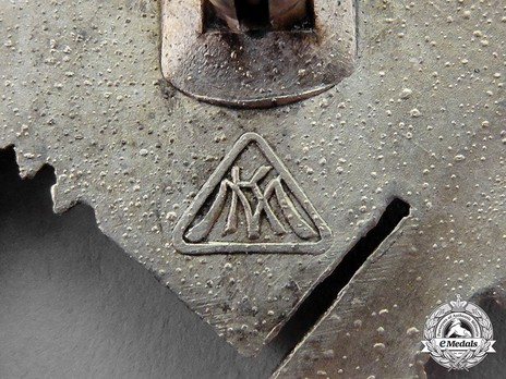 Infantry Assault Badge, by Unknown Maker: M.K. (in silver) Detail