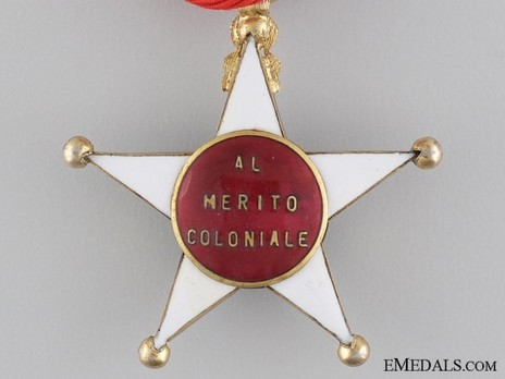 Order of the Colonial Star of Italy, Knight's Cross (in gold) Reverse