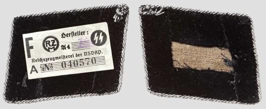 Waffen-SS Pre-1942 Oberführer Collar Tabs Reverse