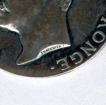 """H.M. The Kings Commemorative Medal,  II Class (with crown Haakon VII stamped """"THRONDSEN"""") Detail"""