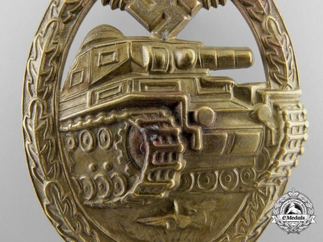 Panzer Assault Badge, in Bronze, by B. H. Mayer Detail
