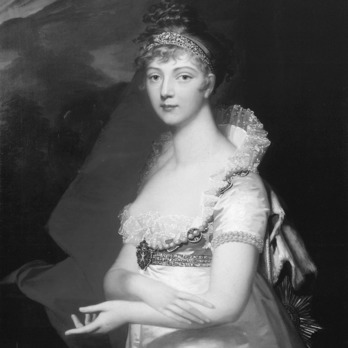 Princess Louise of Baden, later known as Elizabeth Alexeievna Empress of Russia, was born January 24, 1779 in Baden. Princess Louise was chosen by Empress Catherine II of Russia as a bride for Grand Duke Alexander Pavlovich and went to Russia in November 1792. She took the title of Grand Duchess of Russia after converting to the Orthodox Church and took the name Elizabeth Alexeievna. Her and Alexander were married on September 28, 1793. She had two daughters, but both died in early childhood. While their marriage was originally happy, Alexander I and Elizabeth soon led separate lives and had affairs. She was not popular with the Russian people nor her husband's family, but she was a reliable supporter of her husband's policies. In 1814, she joined her husband at the Congress of Vienna. The two reconciled in the 1820s and moved to Taganrog where Alexander died in December 1825. Elizabeth died five months later on May 16, 1826 during her return journey to the capital. She was decorated with the Order of St Andrew Collar.