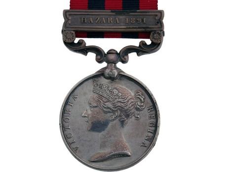"""Silver Medal (with """"HAZARA 1891"""" clasp) Obverse"""