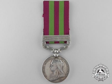 """Silver Medal (with """"WAZIRISTAN 1901-02"""" clasp) (1896-1901) Obverse"""