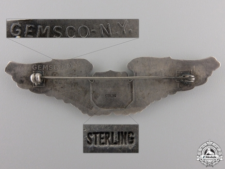 "Pilot Wings (with sterling silver) (by Gemsco, stamped ""GEMSCO N.Y."") Reverse"