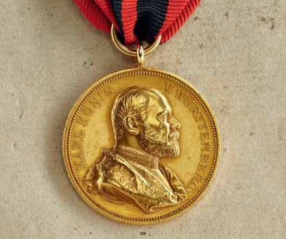 """Commemorative Medal for 25 Years of Reign, in Gold (stamped """"K.SCHWENZER"""")"""