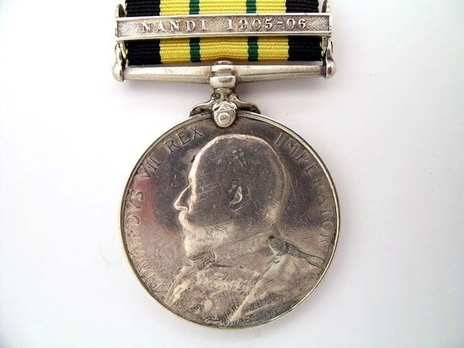 """Silver Medal (with """"NANDI 1905-06"""" clasp) Obverse"""
