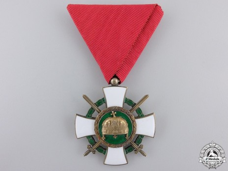 Order of the Holy Crown, Knight, Military Division (with War Decoration) Obverse