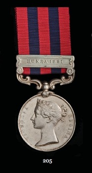 """India General Service Medal (1854) (with """"HUNZA 1891"""" clasp)"""