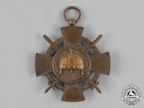Order of the Holy Crown, Bronze Cross, Military Division Obverse