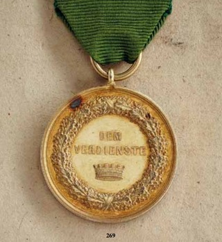 """Decoration for Art and Science, II Class Gold Medal (stamped """"HELFRICHT F."""" 1874-1889)"""