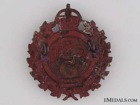 5th Battalion Railway Troops Other Ranks Cap Badge (with Wreath) Reverse