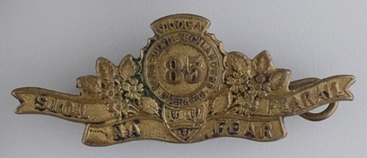 85th Infantry Battalion Other Ranks Collar Badge (Scroll) Obverse