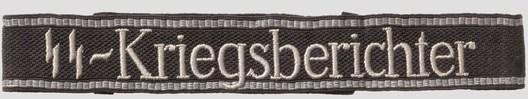 Waffen-SS Kriegsberichter NCO/EM's Cuff Title (RZM machine-embroidered version) Obverse