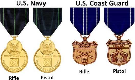 U.S. Coast Guard Expert Pistol Shot Medal, Second from Left, Obverse